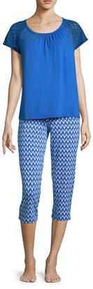 Liz Claiborne Lace Short Sleeve Capri Pajama Set