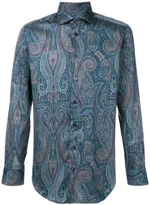 Etro paisley print spread collar shirt