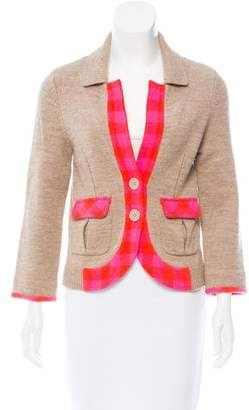Marc Jacobs Gingham-Trimmed Wool Cardigan
