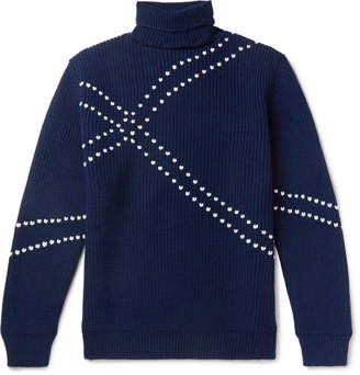 Raf Simons Embroidered Virgin Wool Rollneck Sweater - Navy
