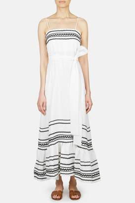 Lisa Marie Fernandez Ric Rac Linen Slip Dress - White/Black Ric Rac