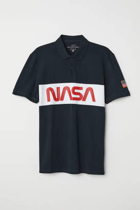 H&M Polo Shirt with Motif - Blue