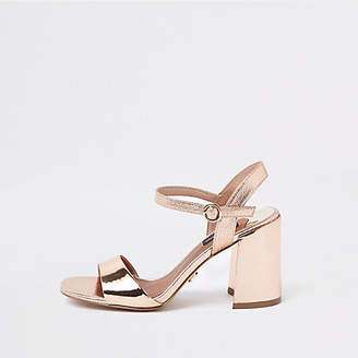 River Island Bright gold wide fit block heel sandals