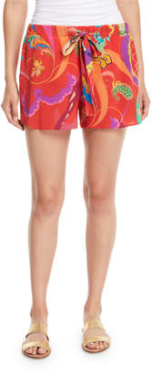 Etro Printed Silk Coverup Shorts