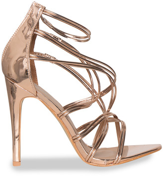 249f5e66afb4 Missy Empire Missyempire Liberty Rose Gold Multi Cross Strap High Heels