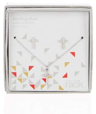 Nordstrom Rack Sterling Silver Pave CZ Cross Pendant Necklace & Stud Earrings Set