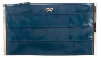 Anya Hindmarch Patent Leather Pleated Clutch Blue Patent Leather Pleated Clutch