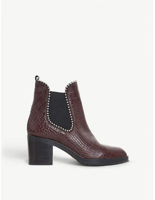 Dune Black Paxtton studded alligator-embossed leather Chelsea boots