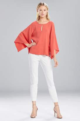 Natori Josie Satin Back Crepe Flutter Sleeve Top