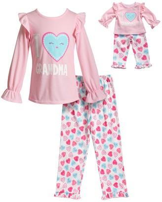 Dollie & Me Girls 4-14 Ruffled Top & Bottoms Pajama Set & Matching Doll Pajamas