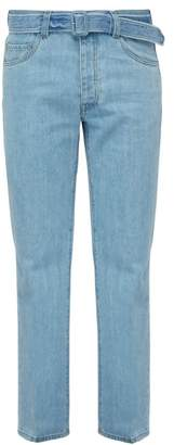 Prada Belted Straight Leg Jeans - Mens - Light Blue