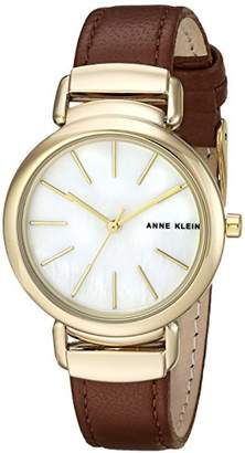 Anne Klein Women's AK/2752MPBN Gold-Tone and Brown Leather Strap Watch