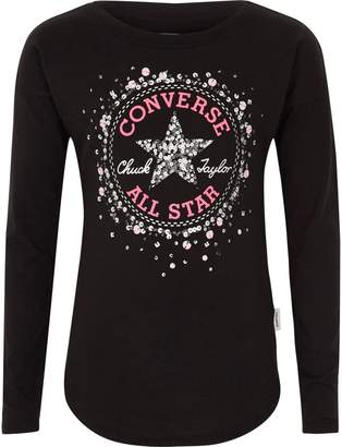 Converse Girls Black sequin print T-shirt