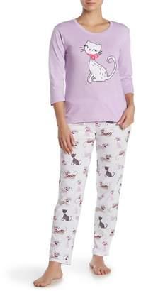 Couture PJ Cat Print Cuddly Critter 2-Piece Pajama Set