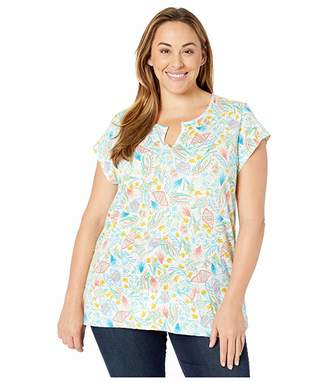 Fresh Produce Extra Fresh by Plus Size Turtle Cove Vintage Split Neck Tee