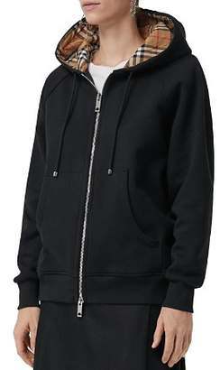 Burberry Hackfall Check-Lined Zip Hoodie