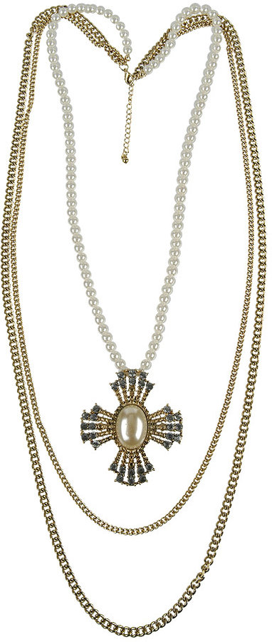 Jeweled Cross Necklace