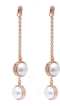 Karen Millen Logo Pearl Drop Earrings
