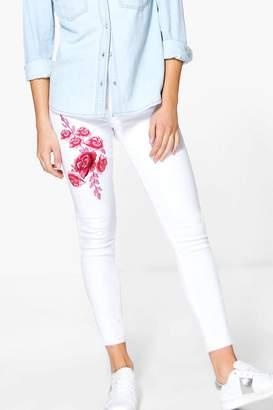 boohoo Wendy High Waist Embroidered Skinny Jeans