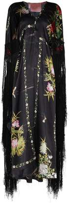 By Walid Silk floral fringed dress