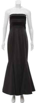 Arzu Kaprol Strapless Velvet-Trimmed Dress