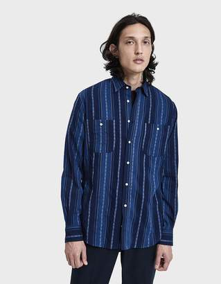 Gitman Brothers Jacquard Stripe Button Up Shirt in Navy