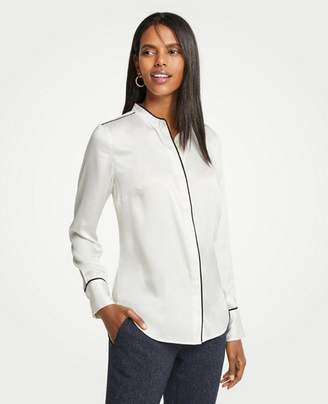 Ann Taylor Piped Covered Button Down Blouse
