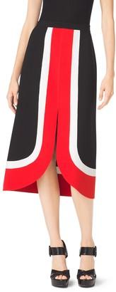 Michael Kors Color-Block Double-Face Wool-Crepe Midi Skirt