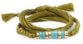 Turquoise & 18K Gold Cotton Bracelet