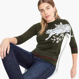 J.Crew Tippi sweater with intarsia cheetah