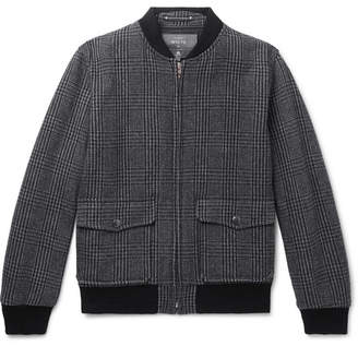 Woolmark Private White V.C. + Prince Of Wales Checked Merino Wool Bomber Jacket