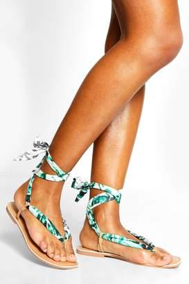 boohoo Palm Print Scarf Sandals