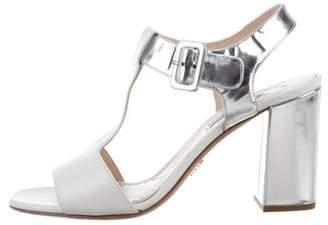 Prada Bicolor T-Strap Sandals