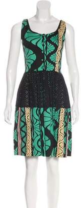 Sophie Theallet Pleated Printed Dress Green Pleated Printed Dress