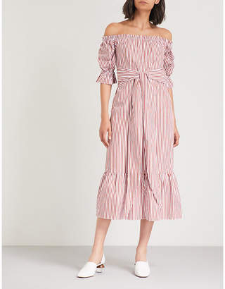 KITRI Cora off-the-shoulder striped cotton midi dress