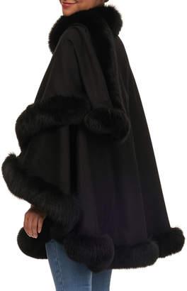 Gorski Wool Cape with Fox Fur Trim