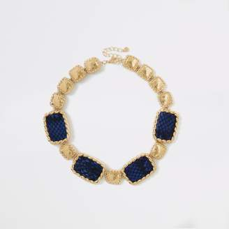 River Island Womens Blue snake print statement necklace