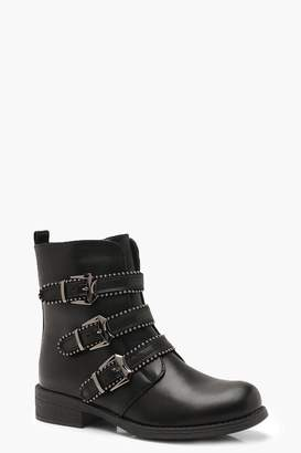 e8e8547af64 boohoo Three Buckle Studded Biker Boots