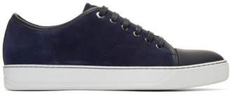 Lanvin Navy Suede Cap Toe Sneakers