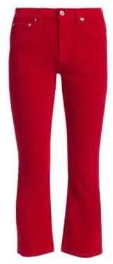 RE/DONE Mid-Rise Crop Kick Velvet Jeans