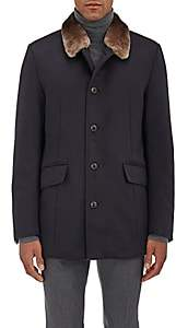 Gimos Men's Fur-Collar Shearling-Lined Cashmere Coat-Navy