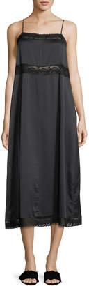 Robert Rodriguez Square-Neck Silk Slip Dress w/ Lace Trim