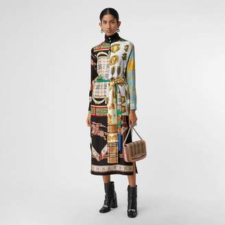 Burberry Archive Scarf Print Silk Dress , Size: 14