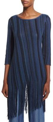 NIC+ZOE Midnight Blues Long Tunic with Fringe $174 thestylecure.com