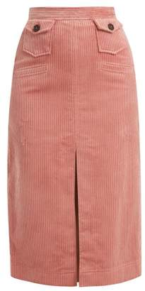 ALEXACHUNG Corduroy Pencil Skirt - Womens - Dark Pink