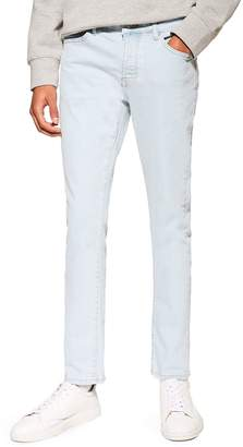 Topman Light Wash Slim Raw Hem Jeans