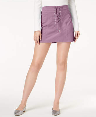 One Hart Juniors' Lace-Up Mini Skirt