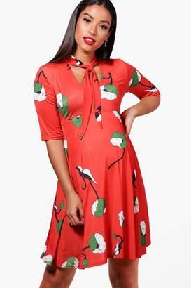 boohoo Maternity Floral Tie Neck Swing Dress