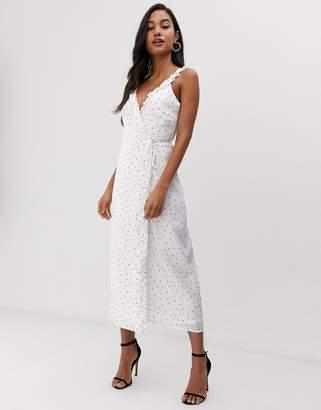 Fashion Union wrap midi dress in polka dot
