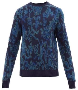 Etro Wool Blend Jacquard Sweater - Mens - Blue Multi